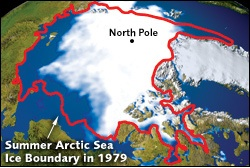 Since 1979, the size of the summer polar ice cap has shrunk more than 20 percent. (NASA)