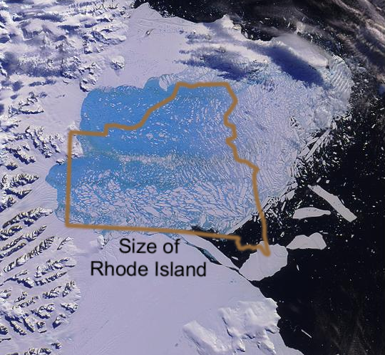 Larsen B Ice Shelf Collapse Size Comparison