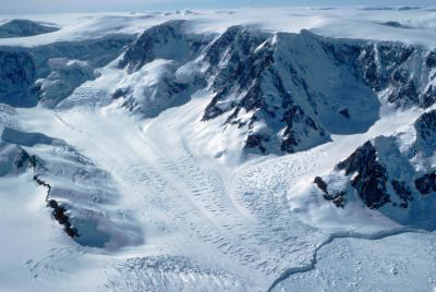 A new satellite survey shows that more than 300 glaciers on the Antarctic Peninsula are flowing toward the sea some 12 percent faster in 2003 than they were in 1993.