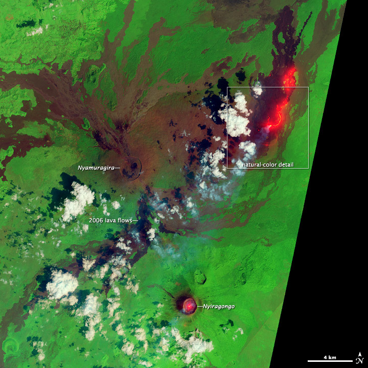 Lava Flow near Nyamuragira Volcano False Color